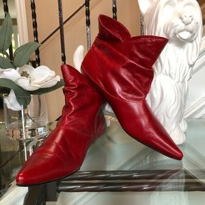 ALDO Ruby Red Leather Low Heel Booties Shoes